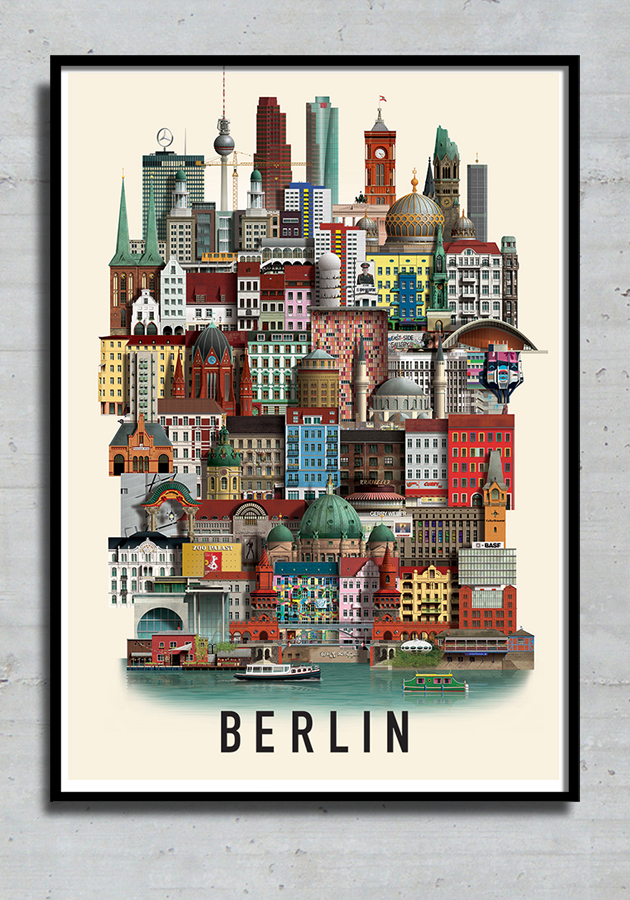 Berlin poster in black frame by Martin Schwartz