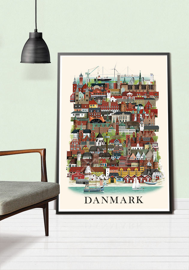 Danmarksplakat af Martin Schwartz i sort ramme