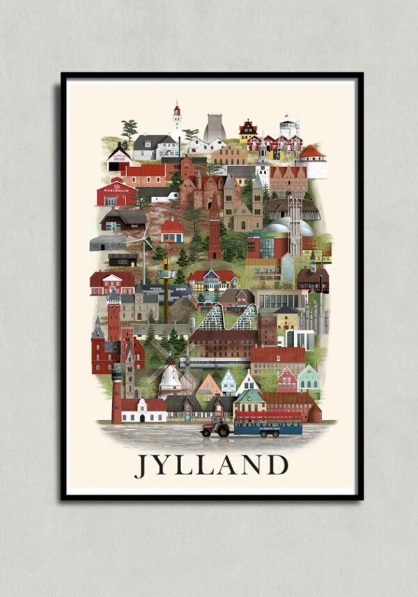 Jyllandsplakat i sort ramme af Martin Schwartz