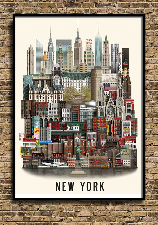 new york poster by martin schwatz. Black Bedroom Furniture Sets. Home Design Ideas