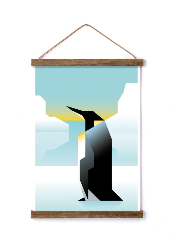 Pingvinplakat af Martin Schwartz i ramme fra ferm living
