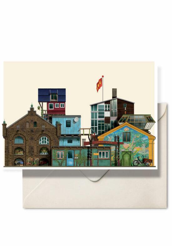 Christiania double card by Danish illustrator Martin Schwartz