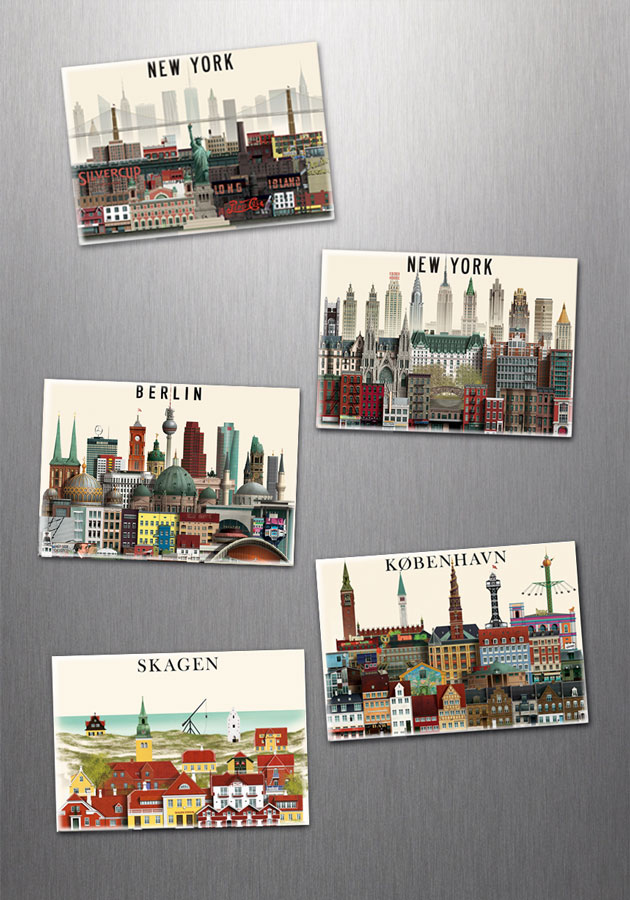 Fridge magnets, New York, Berlin, Copenhagen