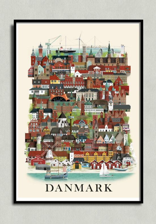 Danmarkplakat, Denmark poster, Denmark print